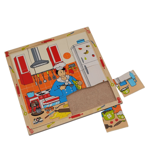 لوح تركيب خشبي - مهنة الطباخ