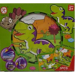 بطاقات وبزل مع القلم المائي - الديناصورات 2