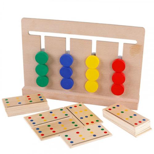 تطابق البطاقات والدوائر الملونة الخشبية