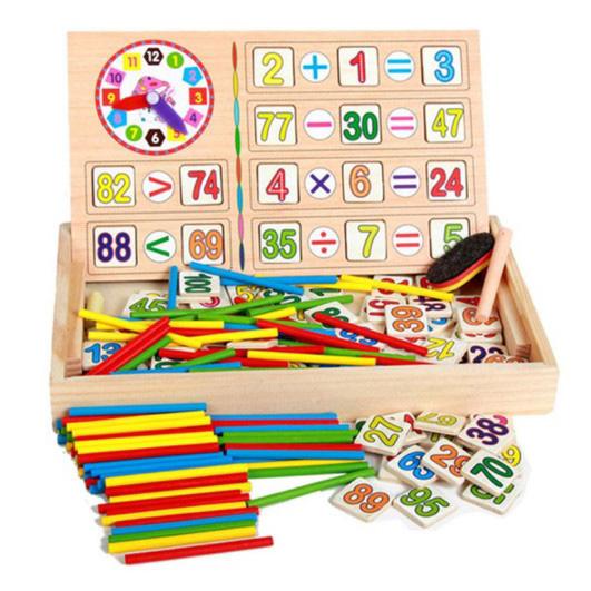 صندوق تعلم الرياضيات الخشبي