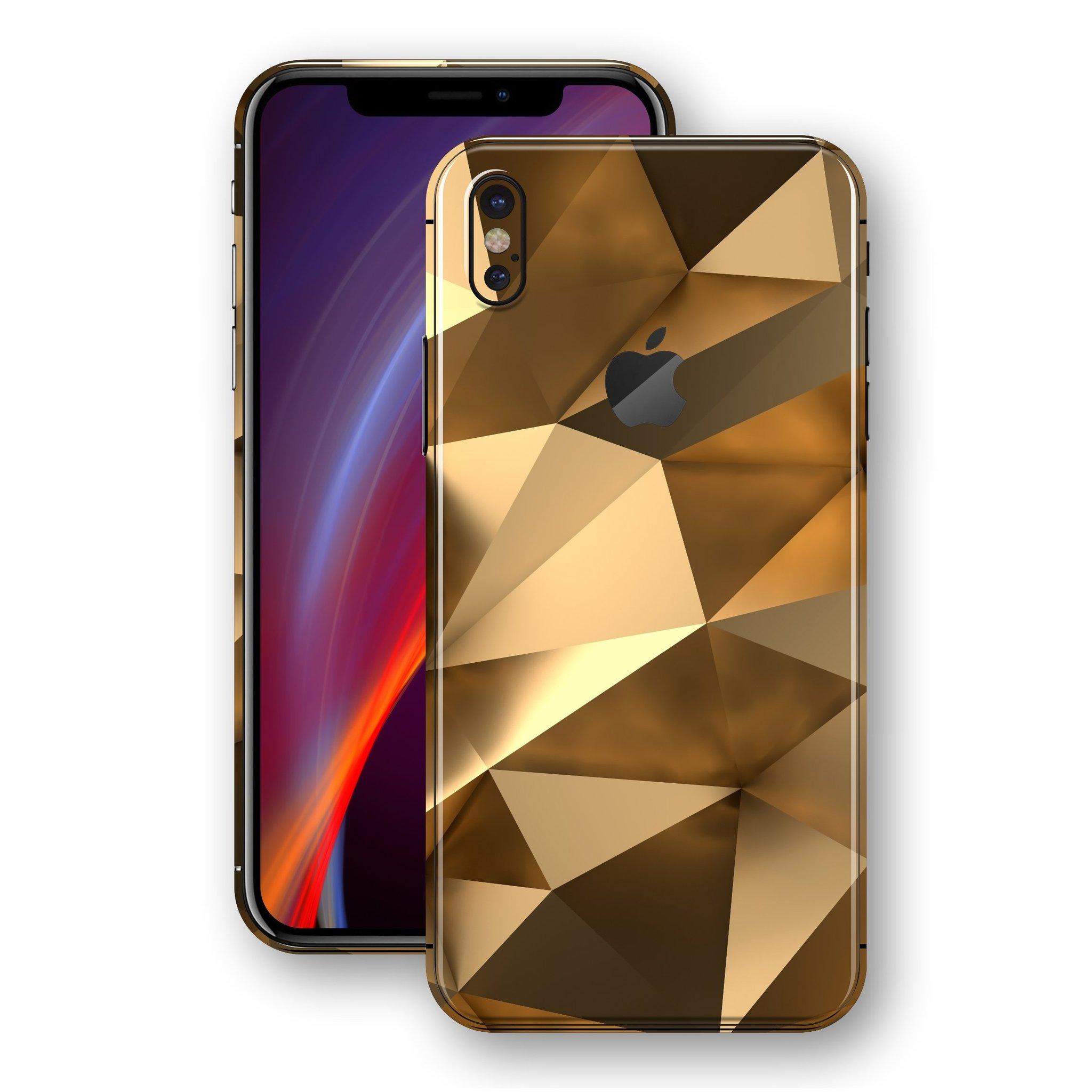 لاصق حماية ايفون X - شكل هندسي ذهبي